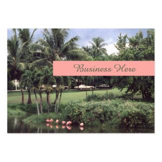 Pretty Tropical Theme Retro Flamingos Palms Large Business Card