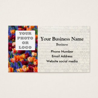 Pretty tulip floral flower photo template business card