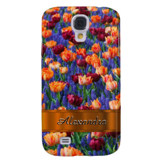 Pretty tulip flower field personalized samsung galaxy s4 cover