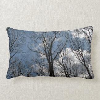 Pretty Tulip Poplar Trees Cloudy Sky Lumbar Lumbar Pillow