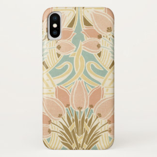 pretty tulips art nouveau floral pattern iPhone x case