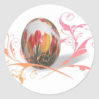 Pretty Tulips Easter Egg Classic Round Sticker