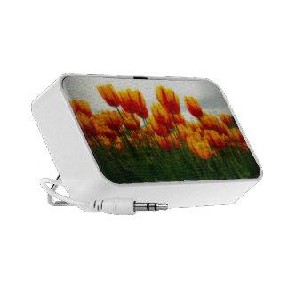 Pretty Tulips in Flower Field iPhone Speakers