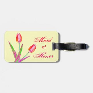 Pretty Tulips Maid of Honor Wedding Luggage Tag Luggage Tag