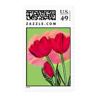 Pretty Tulips Postage Stamp