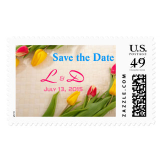 Pretty Tulips Save the Date Mongoram Stamps