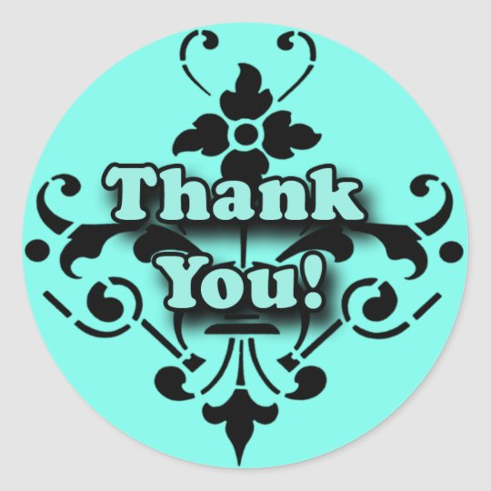 Pretty Turquoise and Black Thank You Stickers