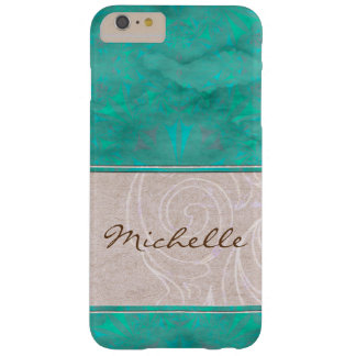 Pretty Turquoise and Parchment Watermark Barely There iPhone 6 Plus Case
