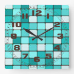 Pretty Turquoise Aqua Teal Mosaic Tile Pattern Wallclocks