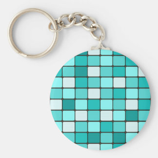 Pretty Turquoise Aqua Teal Mosaic Tile Pattern Key Chains