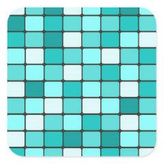 Pretty Turquoise Aqua Teal Mosaic Tile Pattern Square Sticker
