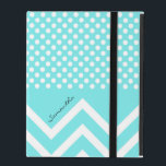 """Pretty Turquoise Blue Patterns Custom iPad Case<br><div class=""""desc"""">Stylish fresh looking iPad folio style case is done in a turquoise blue,  with small white polka dots,  on top,  and bold chevron zigzags,  on the bottom.  Personalize the black text for yourself or as a beautiful gift idea.</div>"""