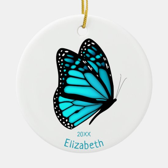 pretty turquoise butterfly in flight personalized ceramic ornament
