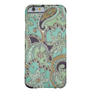 Pretty Turquoise Chic Retro Paisley Floral Pattern Barely There iPhone 6 Case