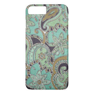 Pretty Turquoise Chic Retro Paisley Floral Pattern iPhone 7 Plus Case