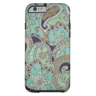 Pretty Turquoise Chic Retro Paisley Floral Pattern Tough iPhone 6 Case