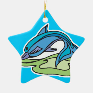 pretty turquoise dolphin design Double-Sided star ceramic christmas ornament
