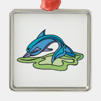 pretty turquoise dolphin design square metal christmas ornament
