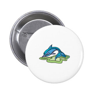 pretty turquoise dolphin design pinback button