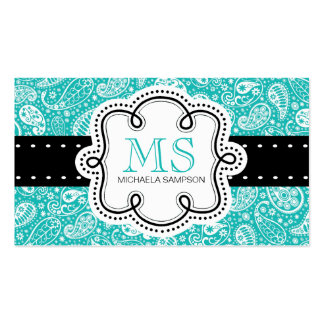 Pretty Turquoise Paisley Pattern Girl Calling Card