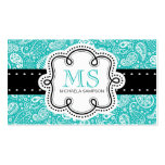 Pretty Turquoise Paisley Pattern Girl Calling Card Double-Sided Standard Business Cards (Pack Of 100)