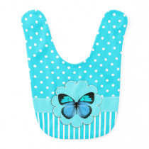 Pretty Turquoise Patterns and Butterfly Baby Bib