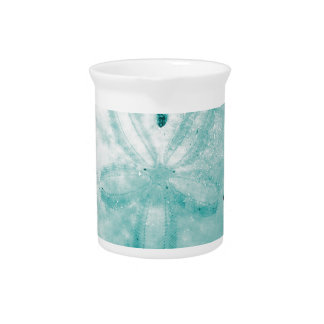 Pretty Turquoise Sand Dollar Pitcher