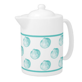 Pretty Turquoise Seashell Ceramic Coffee Pot Teapot