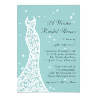 Pretty Turquoise Winter Bridal Shower Invitation