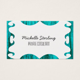Pretty Turquoise Wood Grain White Center Business Card