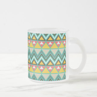 Pretty Turquoise Yellow Pink Native American Print Frosted Glass Coffee Mug
