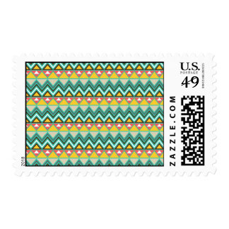 Pretty Turquoise Yellow Pink Native American Print Stamps