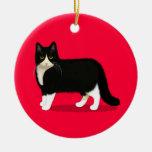 Pretty Tuxedo Kitty Christmas Ornaments