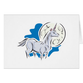 pretty unicorn and full moon greeting card