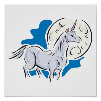 pretty unicorn and full moon poster