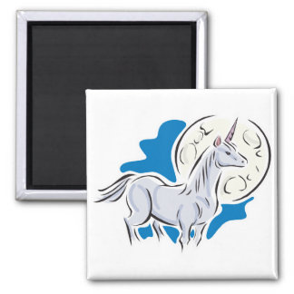 pretty unicorn and full moon refrigerator magnets