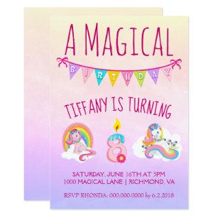Pretty Unicorn Birthday Party For 8 Year Old Invitation