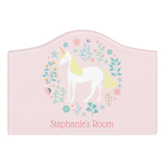Pretty Unicorn Blush Pink Personalized Bedroom Door Sign