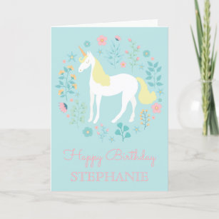Pretty Unicorn & Flowers Aqua Personalized Card