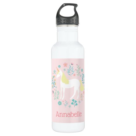 Pretty Unicorn & Flowers Blush Pink Personalized Stainless Steel Water Bottle