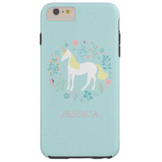 Pretty Unicorn & Flowers Personalized Tough iPhone 6 Plus Case