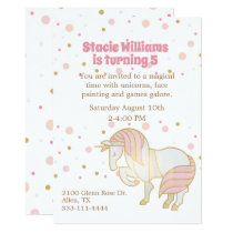 Pretty Unicorn Girl's Birthday Invitation