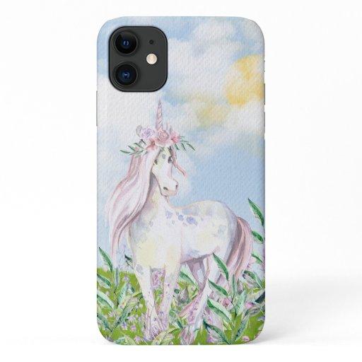 Pretty Unicorn in Field of Flowers iPhone 11 Case