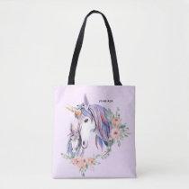Pretty Unicorn Mom & Baby Watercolor Floral Tote Bag