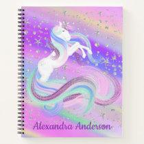 Pretty Unicorn Silver Stars School Notebook