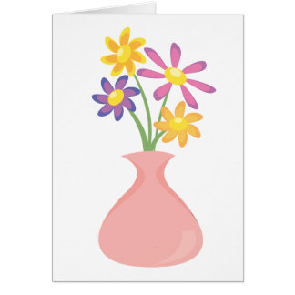 Pretty Vase of Flowers Greeting Card