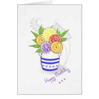 Pretty Vase of Summer Flowers Card