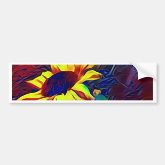 Pretty Vibrant Artistic Sunflowers Bumper Sticker