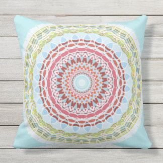 Pretty Vibrant Colorful Mandala Double Sided Outdoor Pillow