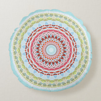 Pretty Vibrant Colorful Mandala Double Sided Round Pillow